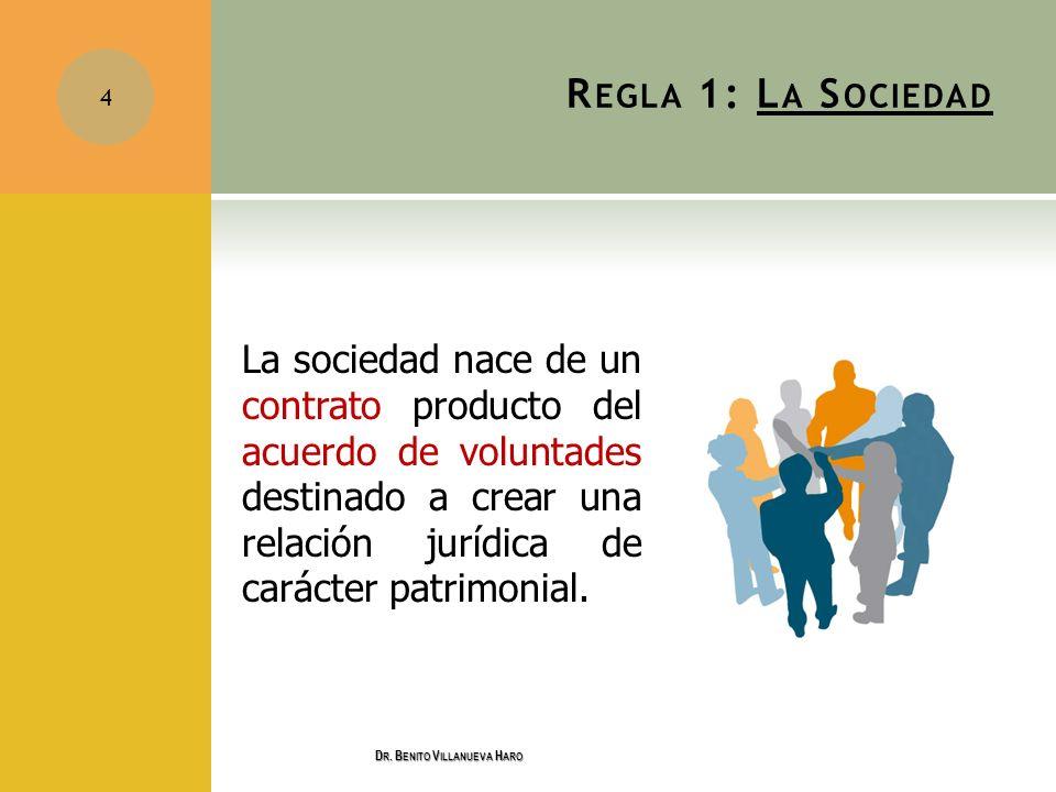 R EGLA 1: L A S OCIEDAD La sociedad nace de un contrato producto del acuerdo de voluntades destinado a crear una relación jurídica de carácter patrimo
