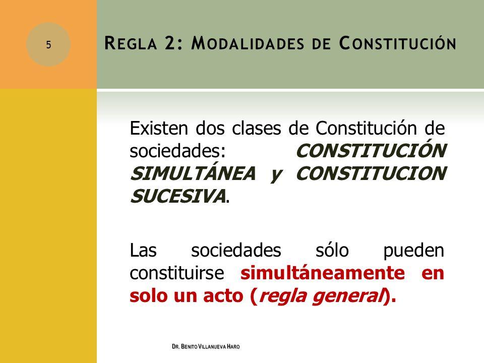 R EGLA 2: M ODALIDADES DE C ONSTITUCIÓN Existen dos clases de Constitución de sociedades: CONSTITUCIÓN SIMULTÁNEA y CONSTITUCION SUCESIVA. Las socieda