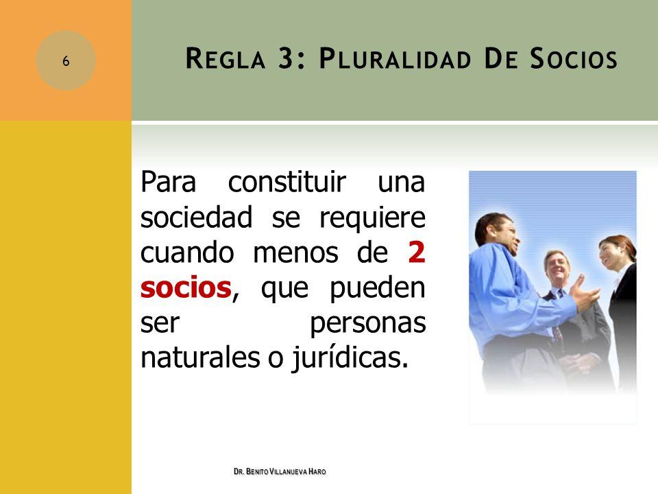 R EGLA 3: P LURALIDAD D E S OCIOS Para constituir una sociedad se requiere cuando menos de 2 socios, que pueden ser personas naturales o jurídicas. 6