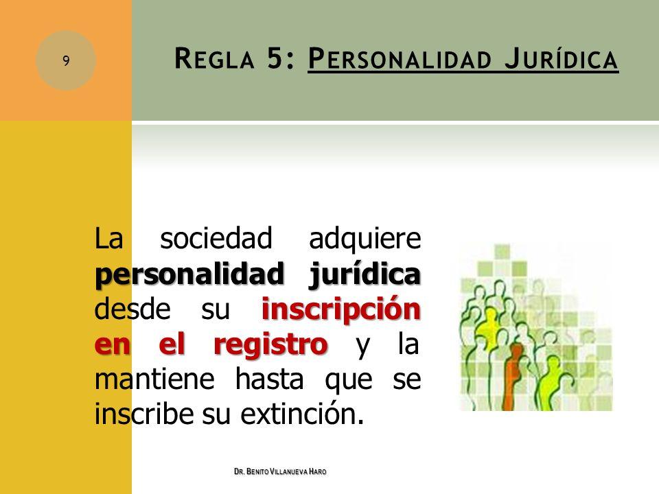 R EGLA 5: P ERSONALIDAD J URÍDICA personalidad jurídica inscripción en el registro La sociedad adquiere personalidad jurídica desde su inscripción en