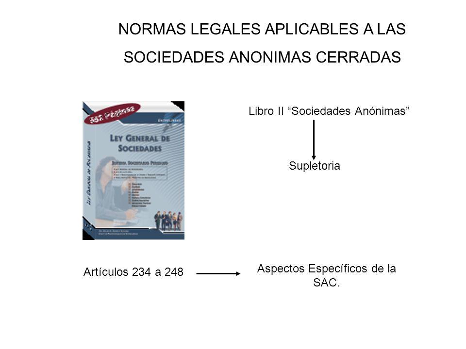 NORMAS LEGALES APLICABLES A LAS SOCIEDADES ANONIMAS CERRADAS Libro II Sociedades Anónimas Artículos 234 a 248 Aspectos Específicos de la SAC. Supletor