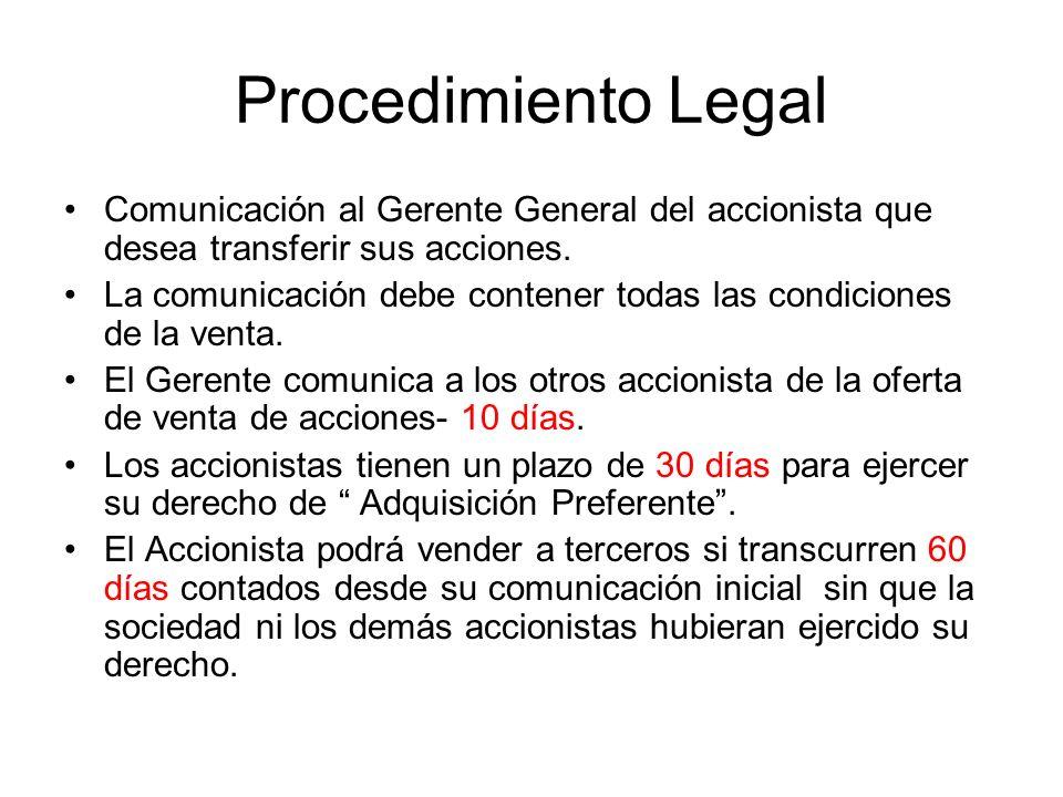 Procedimiento Legal Comunicación al Gerente General del accionista que desea transferir sus acciones. La comunicación debe contener todas las condicio