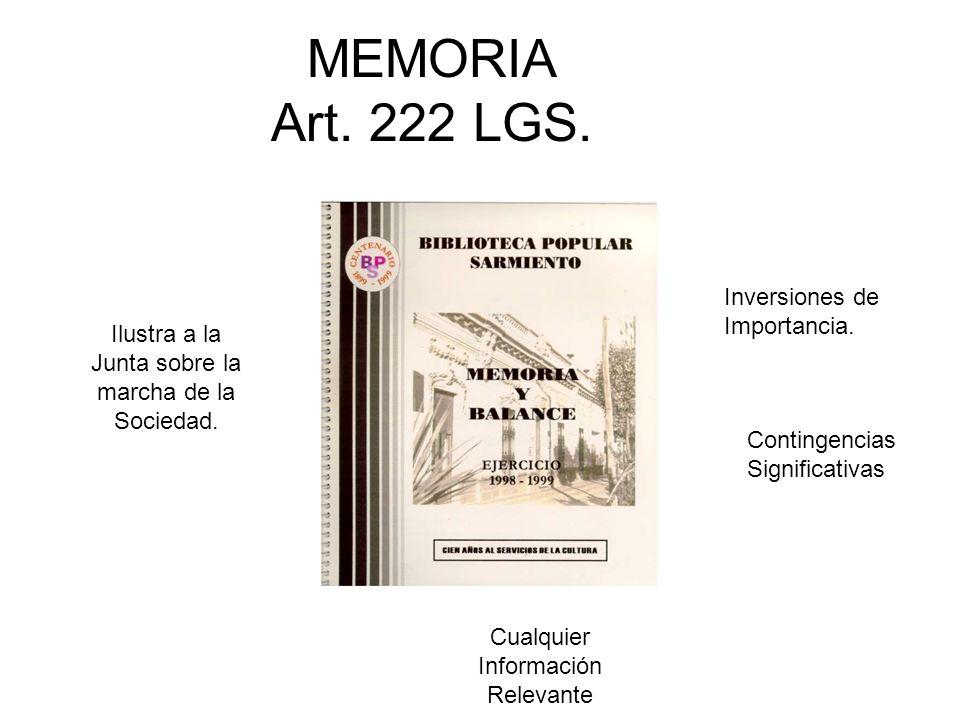 MEMORIA Art. 222 LGS. Ilustra a la Junta sobre la marcha de la Sociedad. Inversiones de Importancia. Contingencias Significativas Cualquier Informació