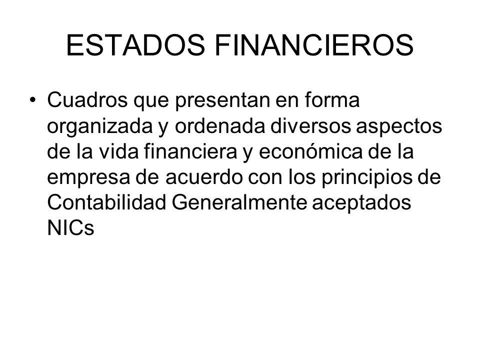 ESTADOS FINANCIEROS Cuadros que presentan en forma organizada y ordenada diversos aspectos de la vida financiera y económica de la empresa de acuerdo