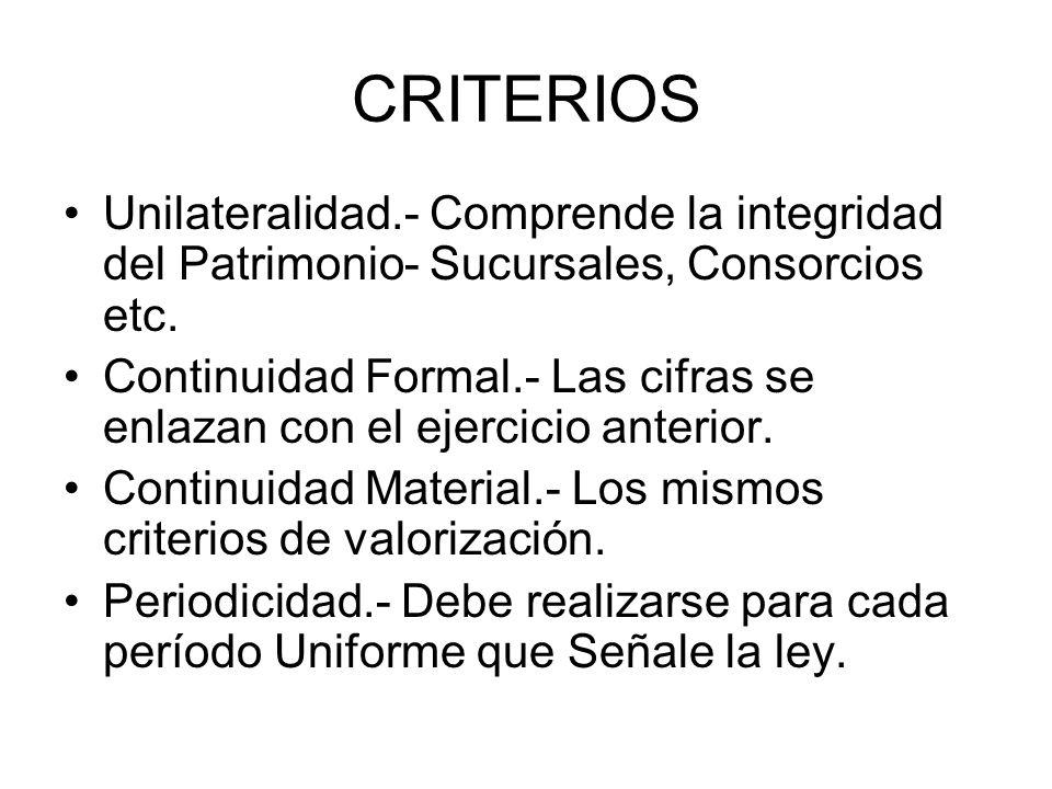 CRITERIOS Unilateralidad.- Comprende la integridad del Patrimonio- Sucursales, Consorcios etc. Continuidad Formal.- Las cifras se enlazan con el ejerc