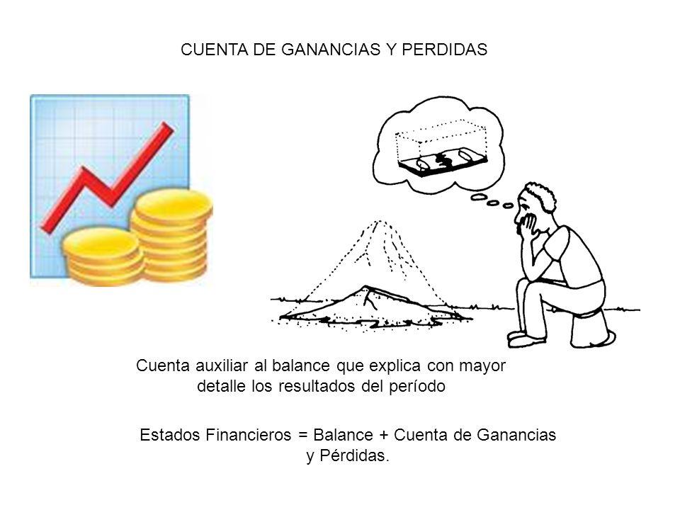 CUENTA DE GANANCIAS Y PERDIDAS Cuenta auxiliar al balance que explica con mayor detalle los resultados del período Estados Financieros = Balance + Cue