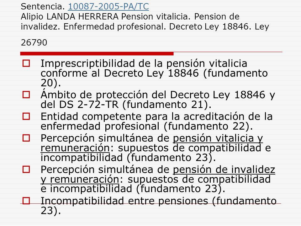 Sentencia. 10087-2005-PA/TC Alipio LANDA HERRERA Pension vitalicia. Pension de invalidez. Enfermedad profesional. Decreto Ley 18846. Ley 2679010087-20