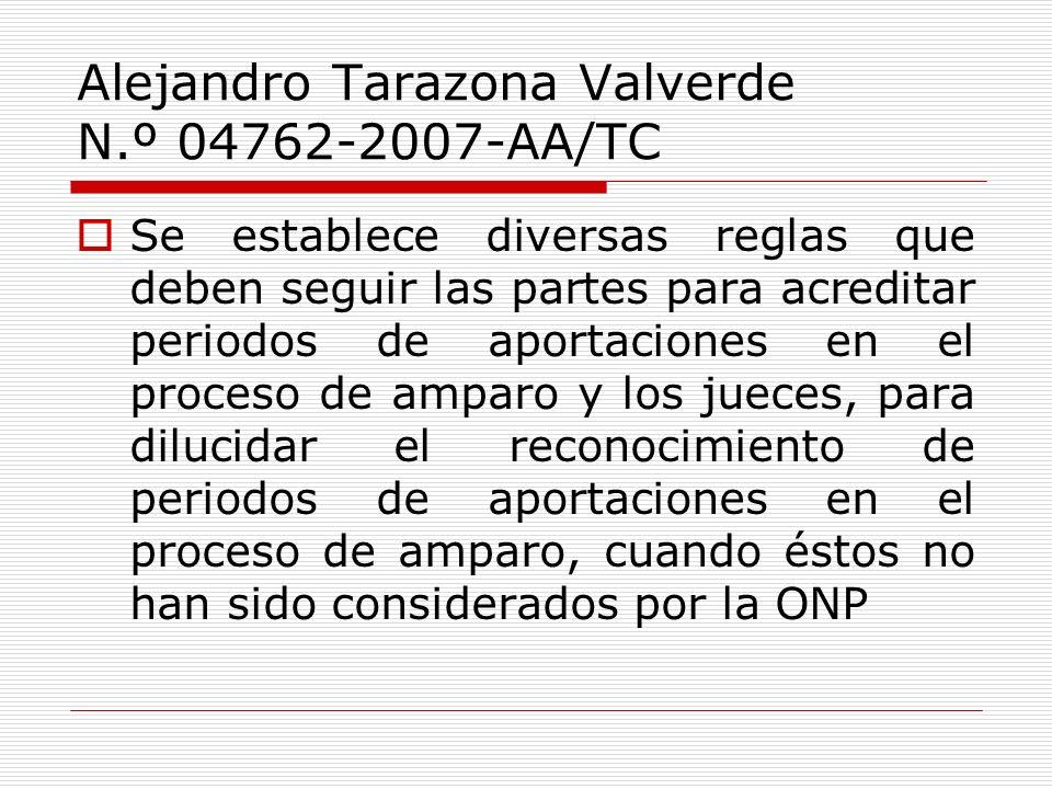 Alejandro Tarazona Valverde N.º 04762-2007-AA/TC Se establece diversas reglas que deben seguir las partes para acreditar periodos de aportaciones en e
