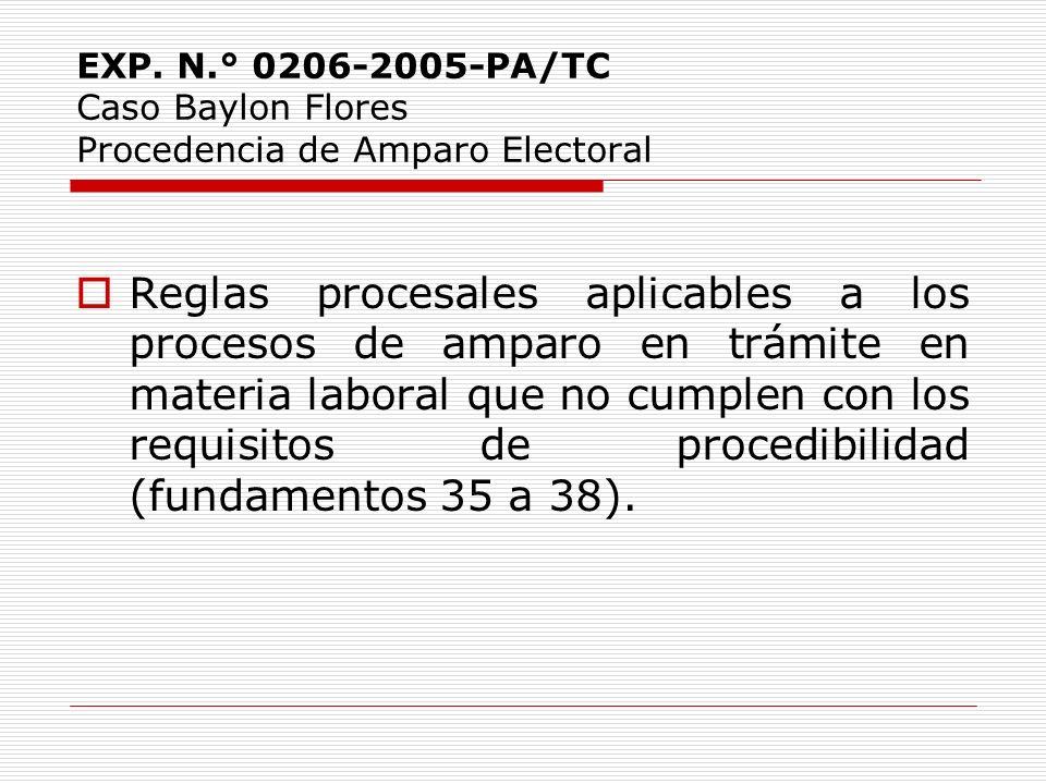 EXP. N.° 0206-2005-PA/TC Caso Baylon Flores Procedencia de Amparo Electoral Reglas procesales aplicables a los procesos de amparo en trámite en materi