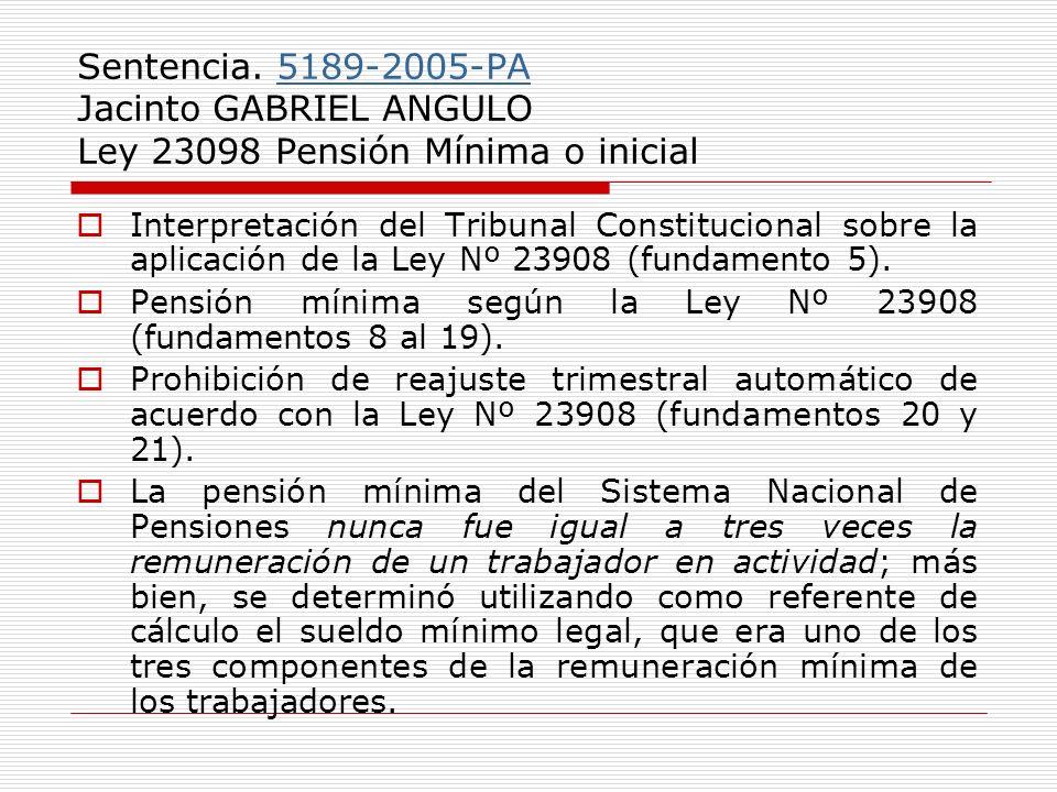 Sentencia. 5189-2005-PA Jacinto GABRIEL ANGULO Ley 23098 Pensión Mínima o inicial5189-2005-PA Interpretación del Tribunal Constitucional sobre la apli