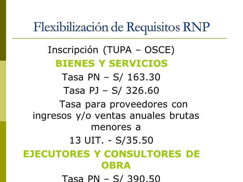 Inscripción (TUPA – OSCE) BIENES Y SERVICIOS Tasa PN – S/ 163.30 Tasa PJ – S/ 326.60 Tasa para proveedores con ingresos y/o ventas anuales brutas meno