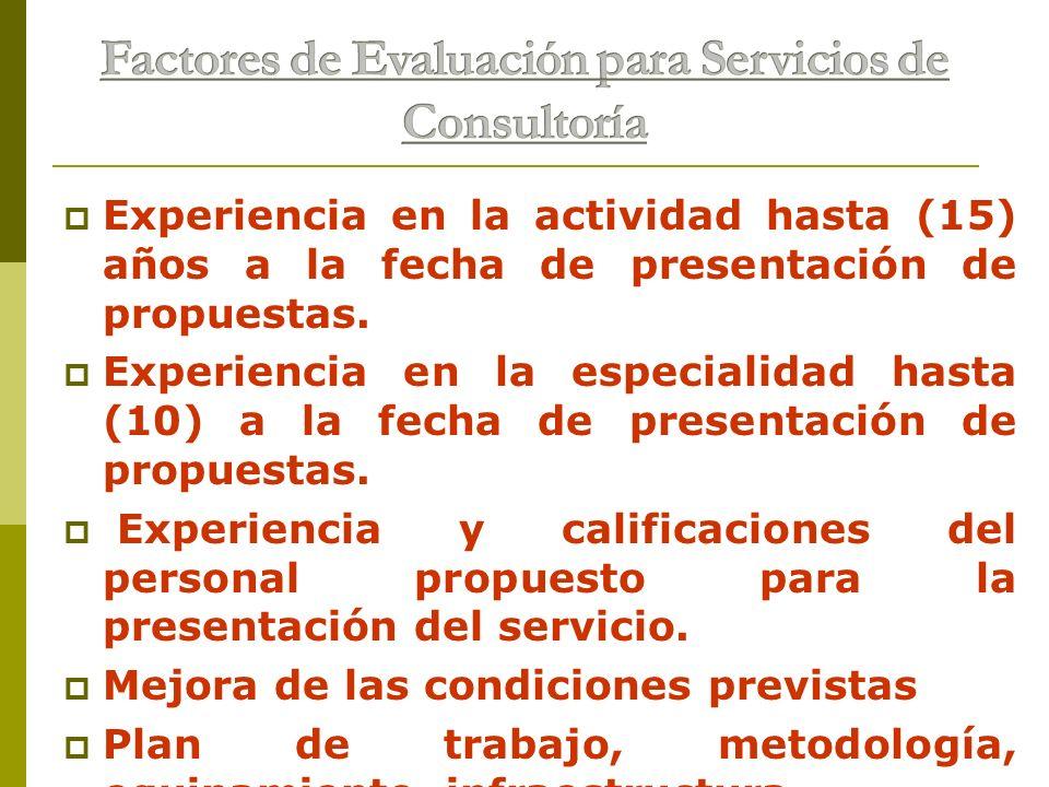 Experiencia en la actividad hasta (15) años a la fecha de presentación de propuestas. Experiencia en la especialidad hasta (10) a la fecha de presenta