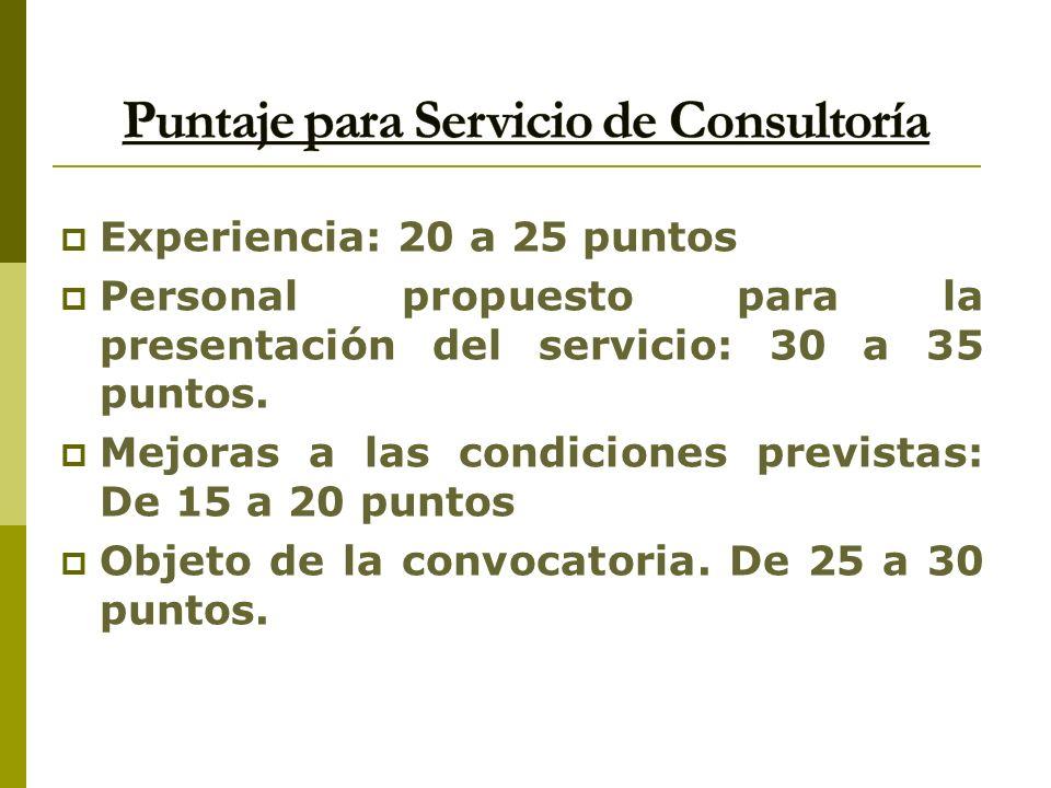 Experiencia: 20 a 25 puntos Personal propuesto para la presentación del servicio: 30 a 35 puntos. Mejoras a las condiciones previstas: De 15 a 20 punt