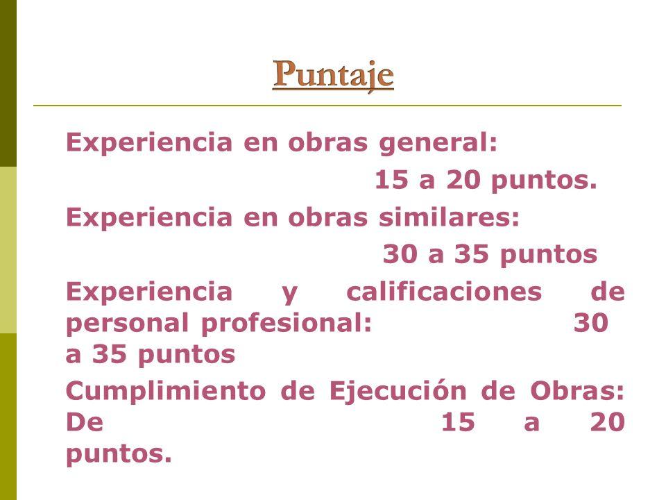 Experiencia en obras general: 15 a 20 puntos. Experiencia en obras similares: 30 a 35 puntos Experiencia y calificaciones de personal profesional: 30