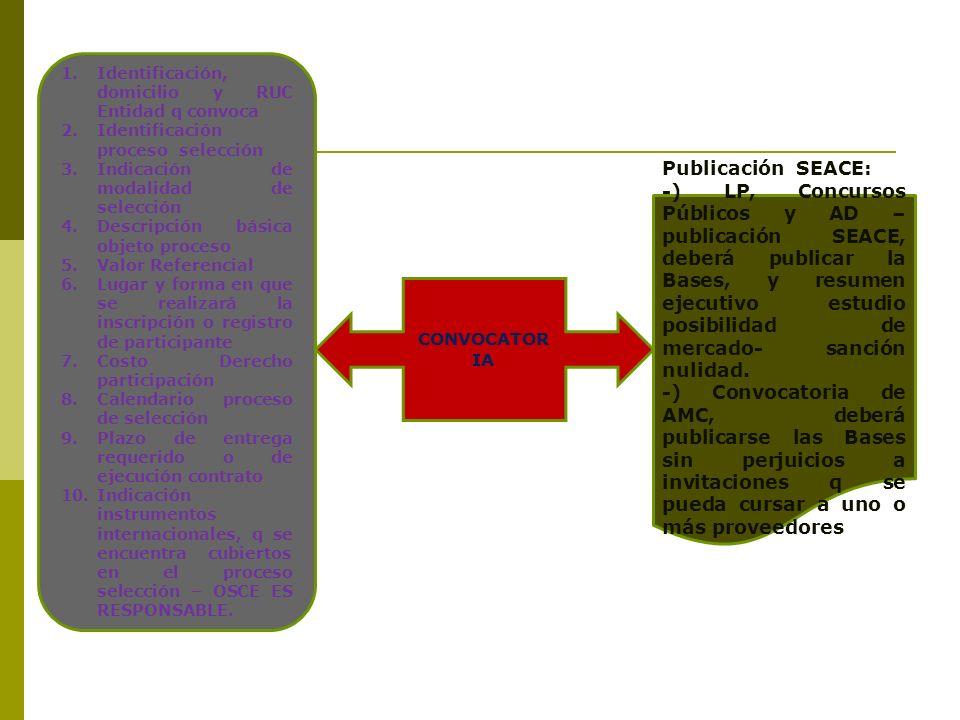 1.Identificación, domicilio y RUC Entidad q convoca 2.Identificación proceso selección 3.Indicación de modalidad de selección 4.Descripción básica obj