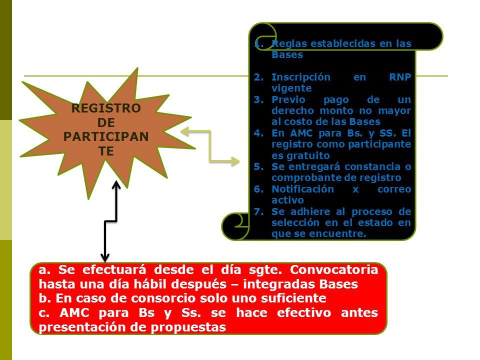 REGISTRO DE PARTICIPAN TE 1.Reglas establecidas en las Bases 2.Inscripción en RNP vigente 3.Previo pago de un derecho monto no mayor al costo de las B