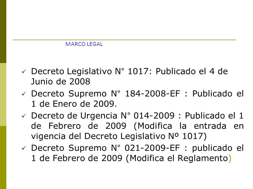 Decreto Legislativo N° 1017: Publicado el 4 de Junio de 2008 Decreto Supremo N° 184-2008-EF : Publicado el 1 de Enero de 2009. Decreto de Urgencia N°