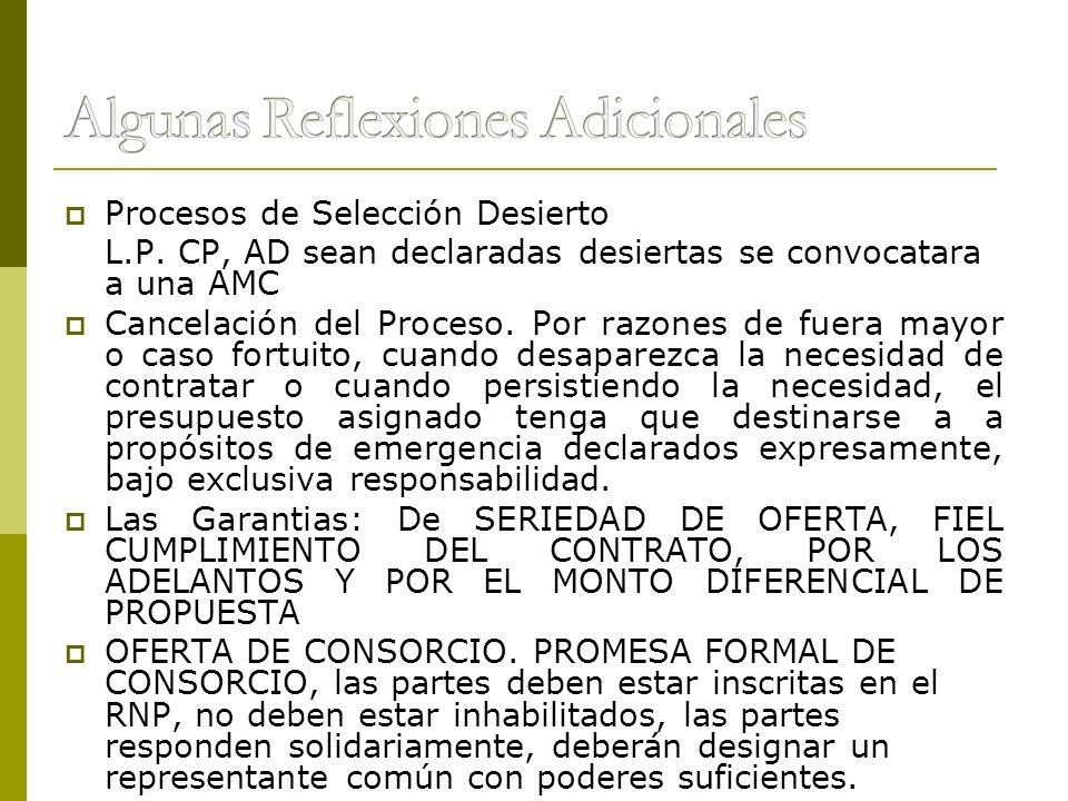 Procesos de Selección Desierto L.P. CP, AD sean declaradas desiertas se convocatara a una AMC Cancelación del Proceso. Por razones de fuera mayor o ca