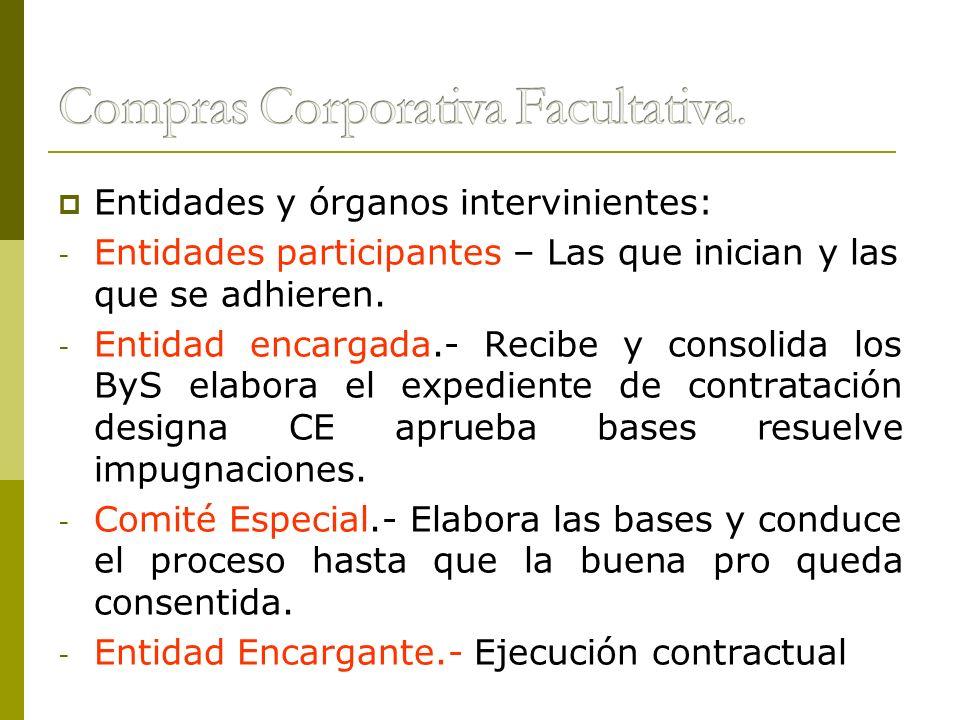 Entidades y órganos intervinientes: - Entidades participantes – Las que inician y las que se adhieren. - Entidad encargada.- Recibe y consolida los By