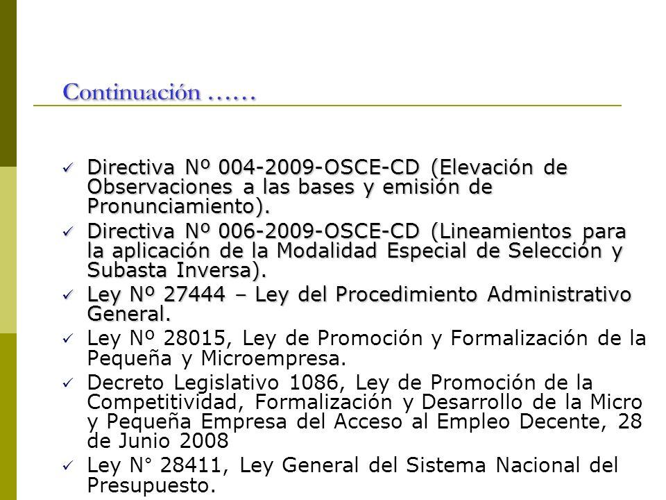 Directiva Nº 004-2009-OSCE-CD (Elevación de Observaciones a las bases y emisión de Pronunciamiento). Directiva Nº 004-2009-OSCE-CD (Elevación de Obser
