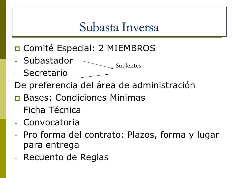 Comité Especial: 2 MIEMBROS - Subastador - Secretario De preferencia del área de administración Bases: Condiciones Minimas - Ficha Técnica - Convocato