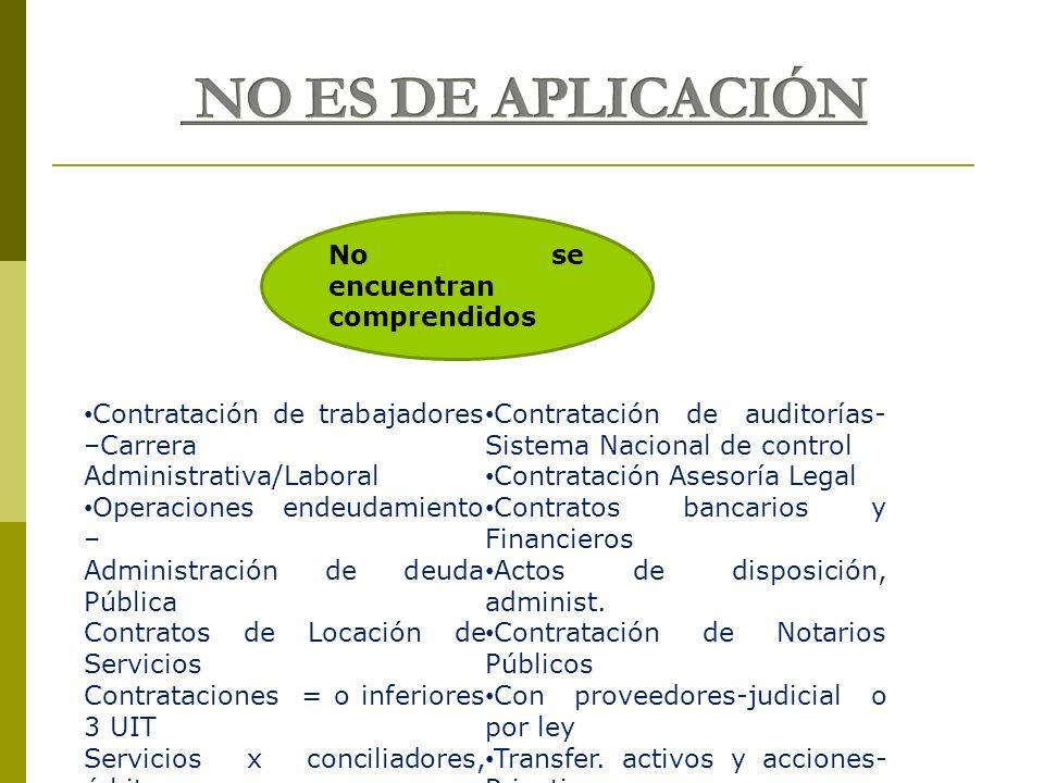 No se encuentran comprendidos Contratación de trabajadores –Carrera Administrativa/Laboral Operaciones endeudamiento – Administración de deuda Pública