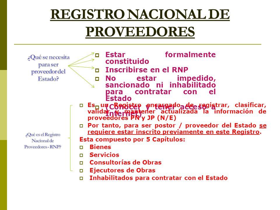 Estar formalmente constituido Inscribirse en el RNP No estar impedido, sancionado ni inhabilitado para contratar con el Estado (Conocer y tener acceso