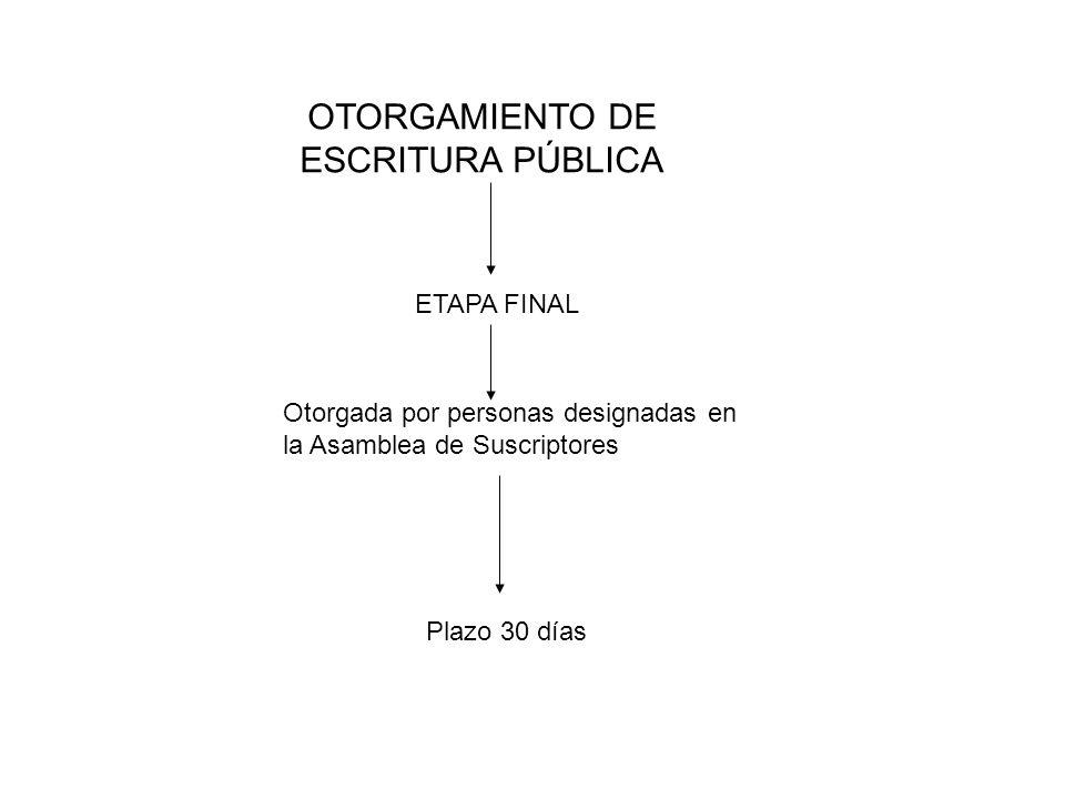 OTORGAMIENTO DE ESCRITURA PÚBLICA ETAPA FINAL Otorgada por personas designadas en la Asamblea de Suscriptores Plazo 30 días