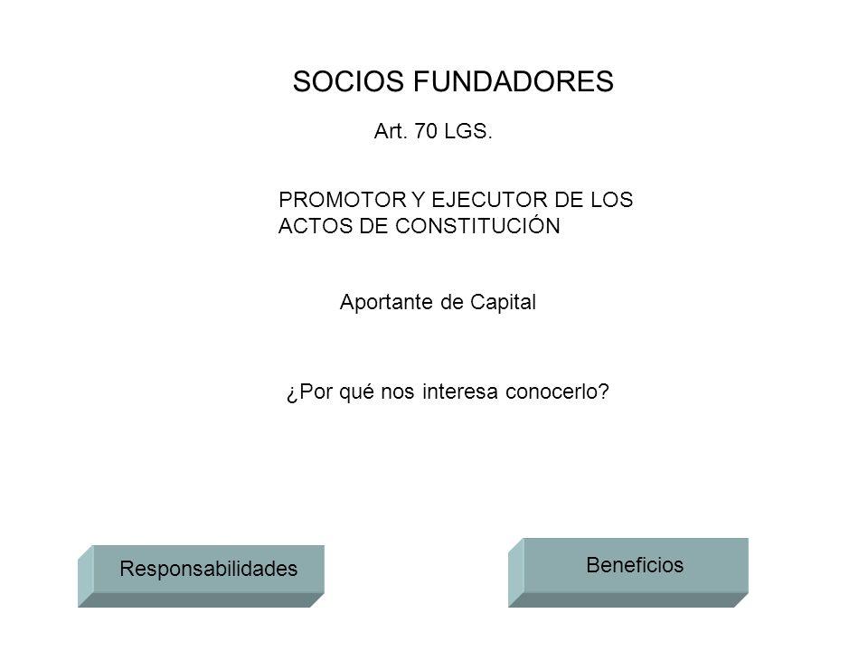 SOCIOS FUNDADORES PROMOTOR Y EJECUTOR DE LOS ACTOS DE CONSTITUCIÓN Aportante de Capital ¿Por qué nos interesa conocerlo? Responsabilidades Beneficios