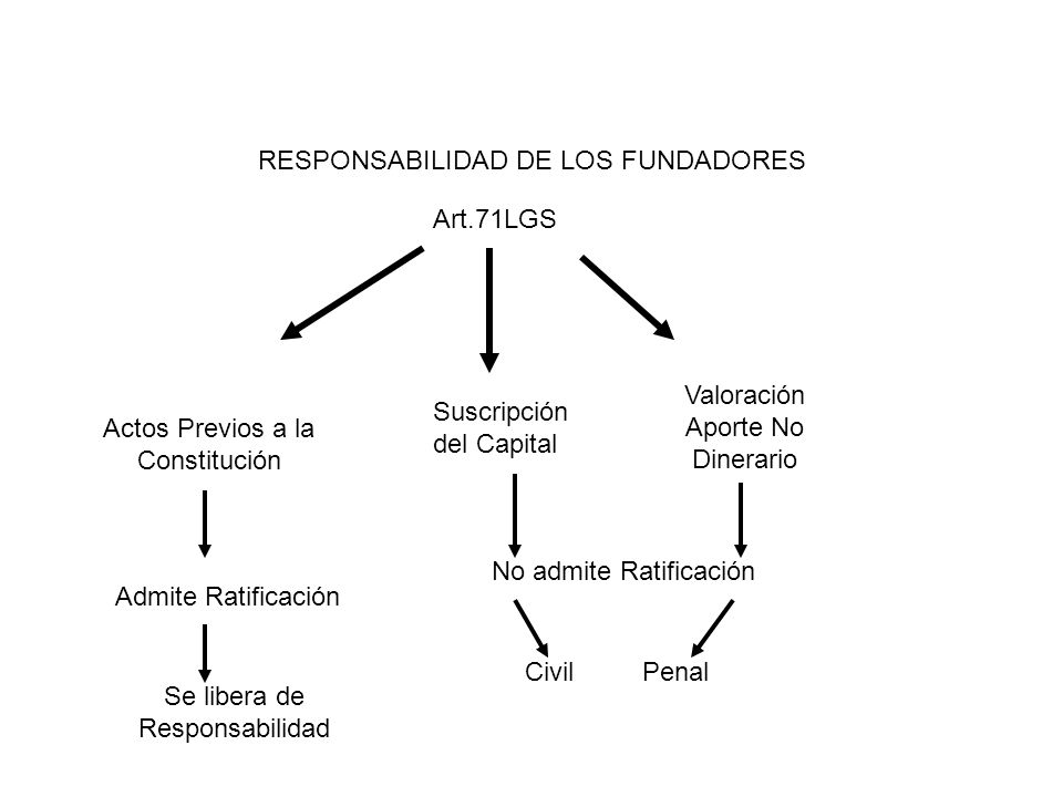 RESPONSABILIDAD DE LOS FUNDADORES Art.71LGS Actos Previos a la Constitución Suscripción del Capital Valoración Aporte No Dinerario Admite Ratificación