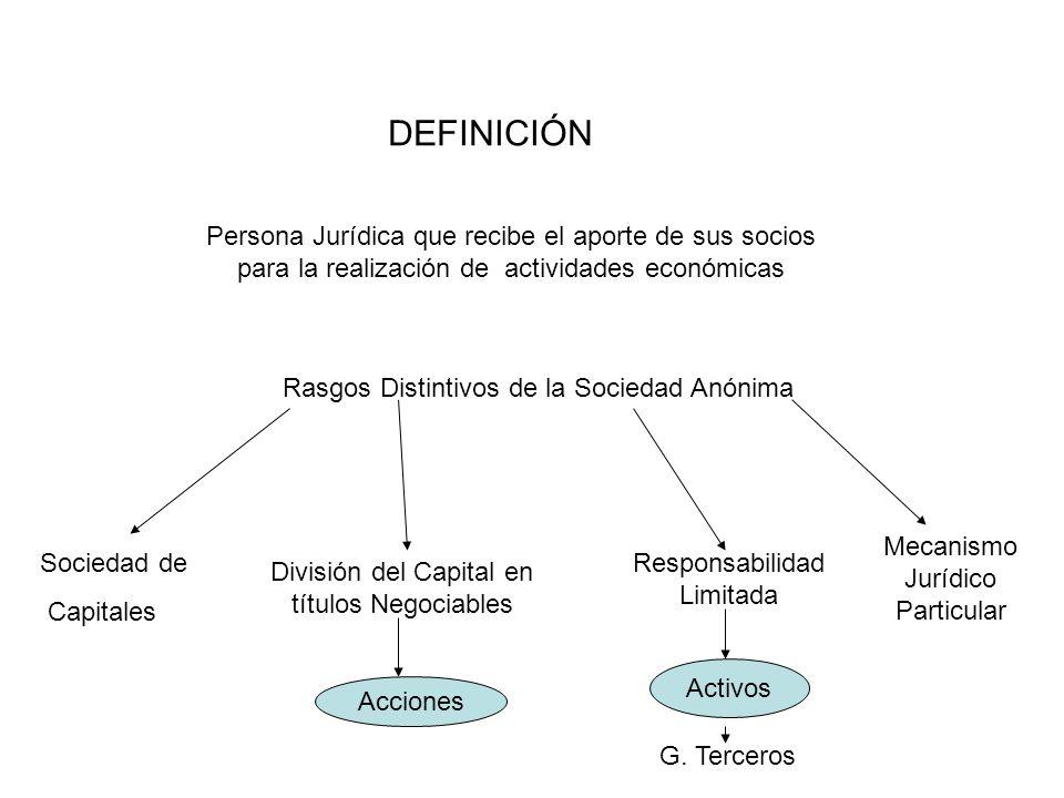 DEFINICIÓN Persona Jurídica que recibe el aporte de sus socios para la realización de actividades económicas Rasgos Distintivos de la Sociedad Anónima