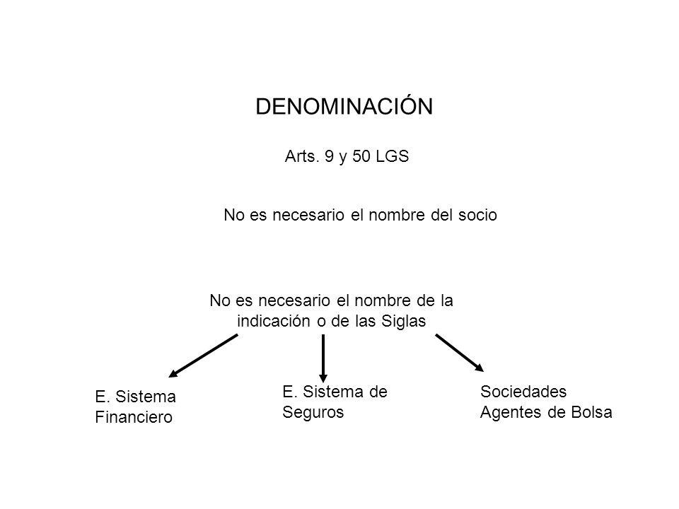 DENOMINACIÓN Arts. 9 y 50 LGS No es necesario el nombre del socio No es necesario el nombre de la indicación o de las Siglas E. Sistema Financiero E.