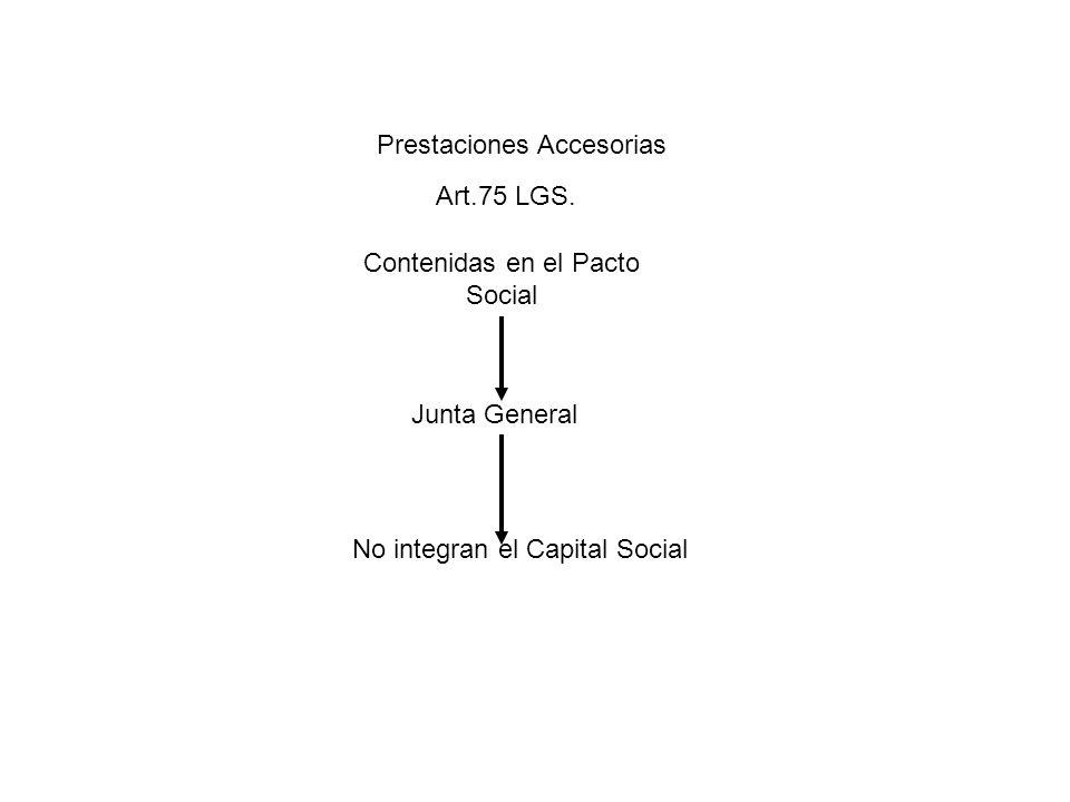 Prestaciones Accesorias Art.75 LGS. Contenidas en el Pacto Social Junta General No integran el Capital Social