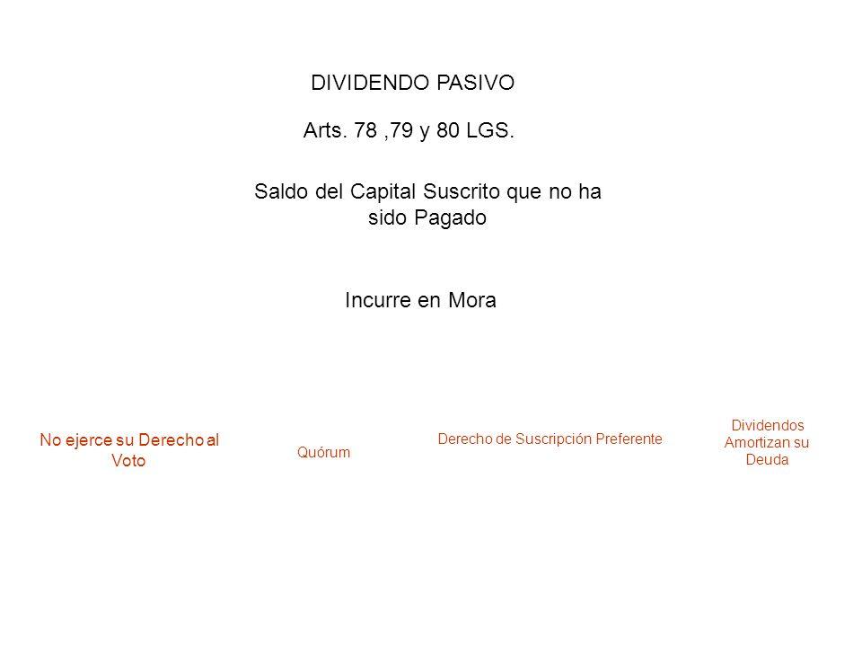 DIVIDENDO PASIVO Saldo del Capital Suscrito que no ha sido Pagado Arts. 78,79 y 80 LGS. Incurre en Mora No ejerce su Derecho al Voto Quórum Derecho de