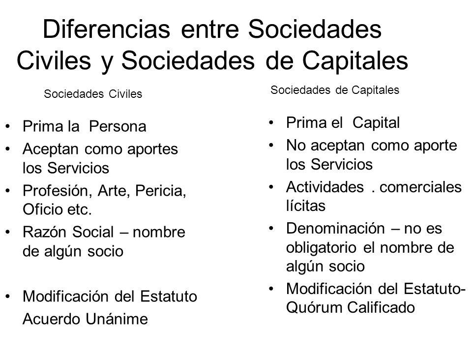 Diferencias entre Sociedades Civiles y Sociedades de Capitales Responden en forma personal de las deudas sociales (excepción (s.
