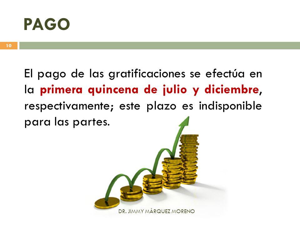 PAGO El pago de las gratificaciones se efectúa en la primera quincena de julio y diciembre, respectivamente; este plazo es indisponible para las parte