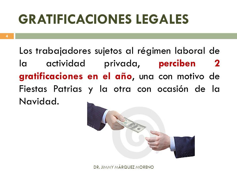 GRATIFICACIONES LEGALES Los trabajadores sujetos al régimen laboral de la actividad privada, perciben 2 gratificaciones en el año, una con motivo de F