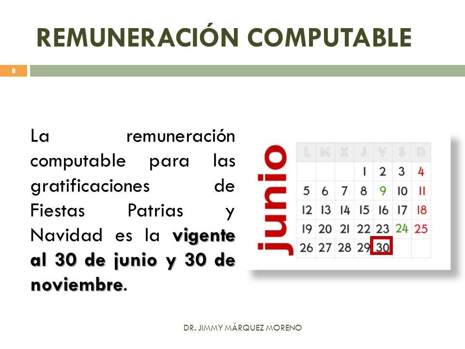 REMUNERACIÓN COMPUTABLE vigente al 30 de junio y 30 de noviembre La remuneración computable para las gratificaciones de Fiestas Patrias y Navidad es l