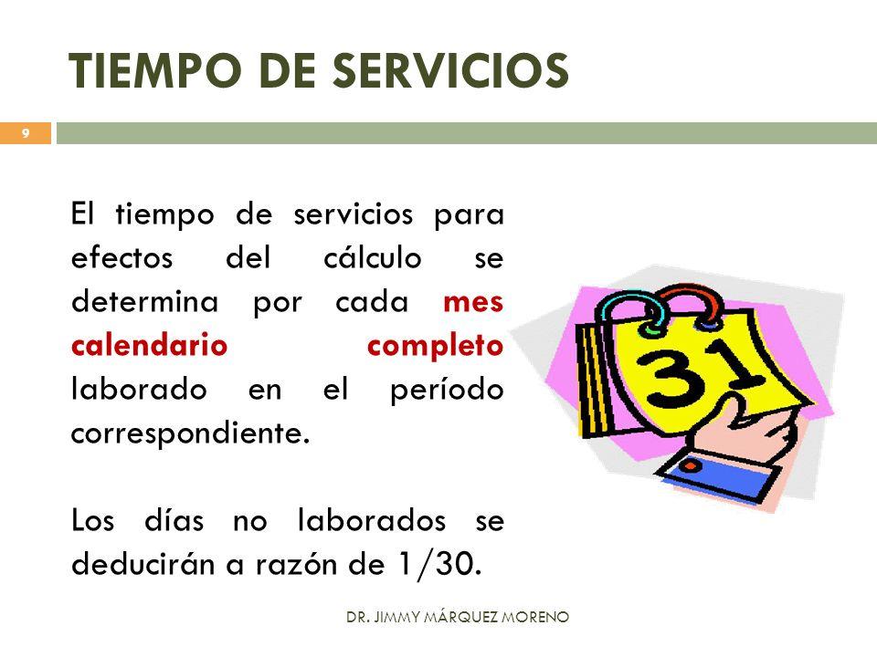 TIEMPO DE SERVICIOS El tiempo de servicios para efectos del cálculo se determina por cada mes calendario completo laborado en el período correspondien