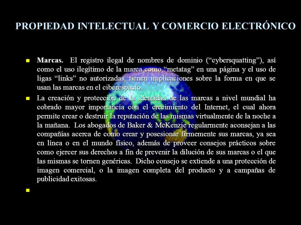 Marcas. El registro ilegal de nombres de dominio (cybersquatting), así como el uso ilegítimo de la marca como metatag en una página y el uso de ligas