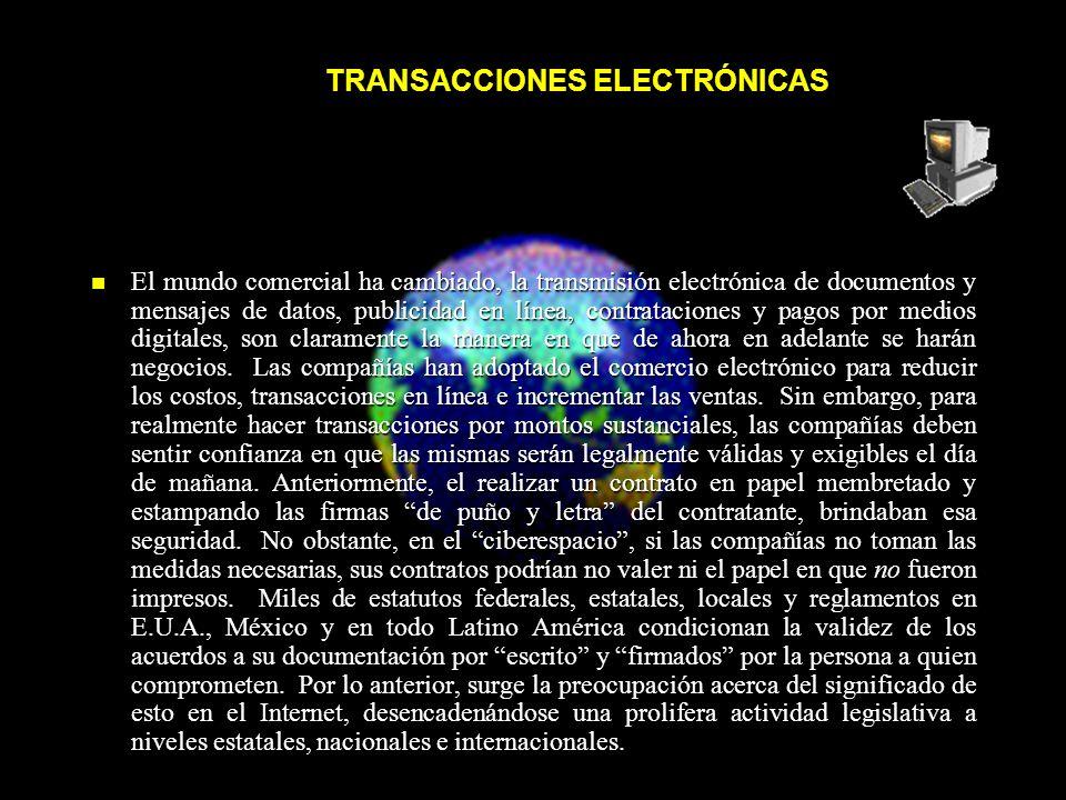 TRANSACCIONES ELECTRÓNICAS TRANSACCIONES ELECTRÓNICAS El mundo comercial ha cambiado, la transmisión electrónica de documentos y mensajes de datos, publicidad en línea, contrataciones y pagos por medios digitales, son claramente la manera en que de ahora en adelante se harán negocios.