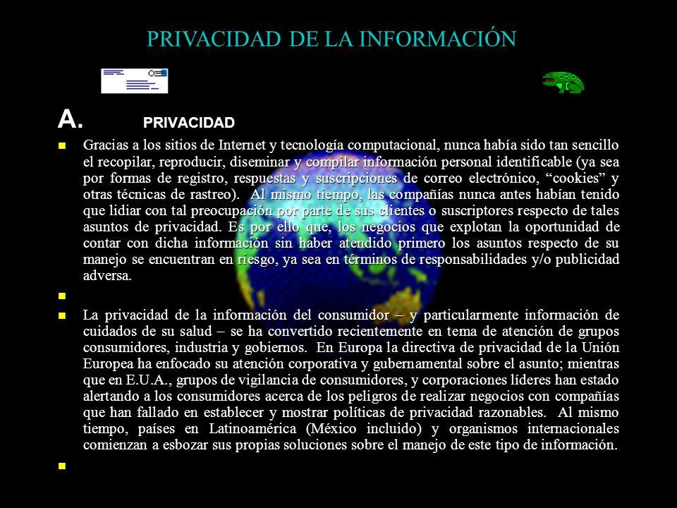 A. PRIVACIDAD Gracias a los sitios de Internet y tecnología computacional, nunca había sido tan sencillo el recopilar, reproducir, diseminar y compila