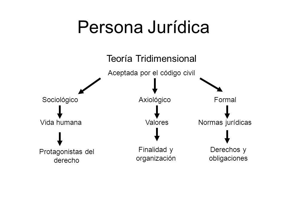 Persona Jurídica Teoría Tridimensional Aceptada por el código civil SociológicoAxiológicoFormal Vida humanaValoresNormas jurídicas Protagonistas del d