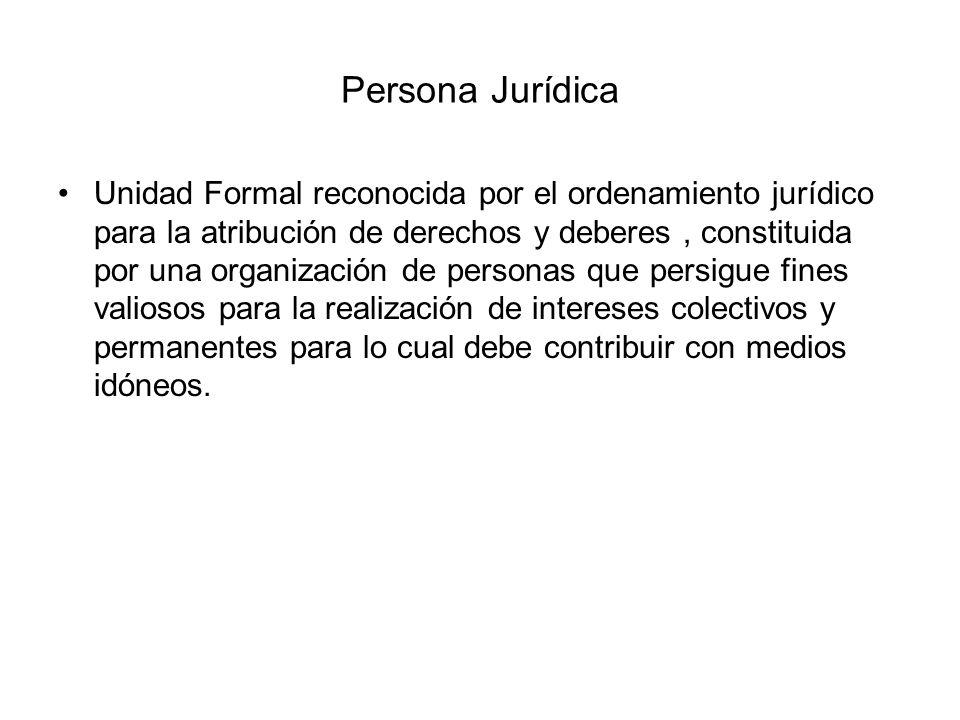 Persona Jurídica Unidad Formal reconocida por el ordenamiento jurídico para la atribución de derechos y deberes, constituida por una organización de p
