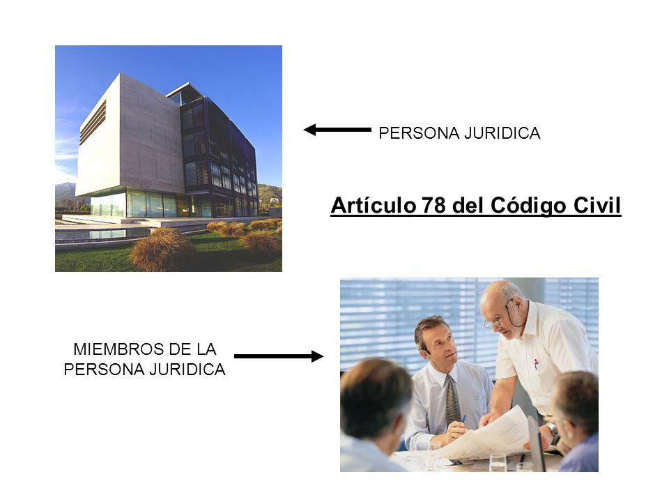 PERSONA JURIDICA MIEMBROS DE LA PERSONA JURIDICA Artículo 78 del Código Civil