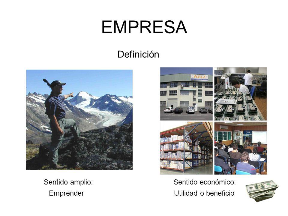 EMPRESA Definición Sentido amplio:Sentido económico: EmprenderUtilidad o beneficio