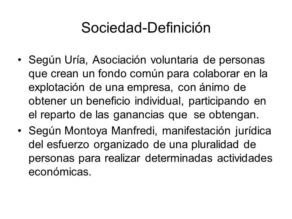 Sociedad-Definición Según Uría, Asociación voluntaria de personas que crean un fondo común para colaborar en la explotación de una empresa, con ánimo