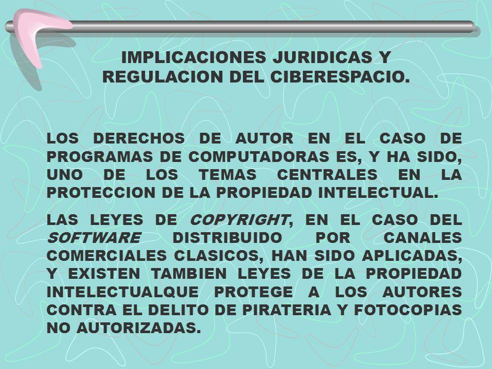 IMPLICACIONES JURIDICAS Y REGULACION DEL CIBERESPACIO. LOS DERECHOS DE AUTOR EN EL CASO DE PROGRAMAS DE COMPUTADORAS ES, Y HA SIDO, UNO DE LOS TEMAS C