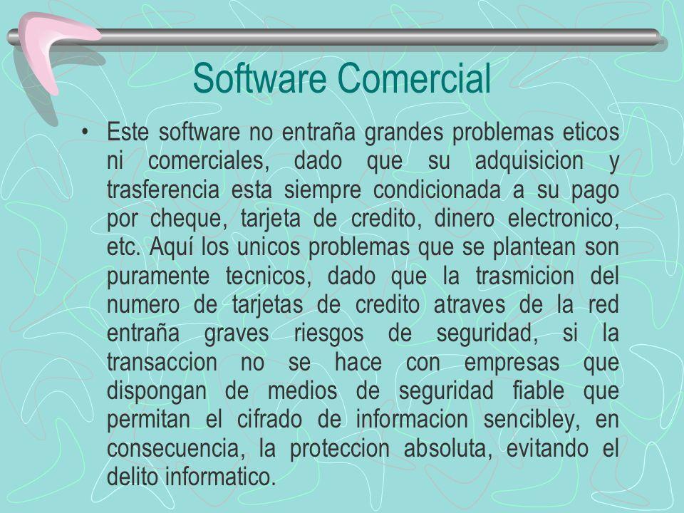 Software Comercial Este software no entraña grandes problemas eticos ni comerciales, dado que su adquisicion y trasferencia esta siempre condicionada