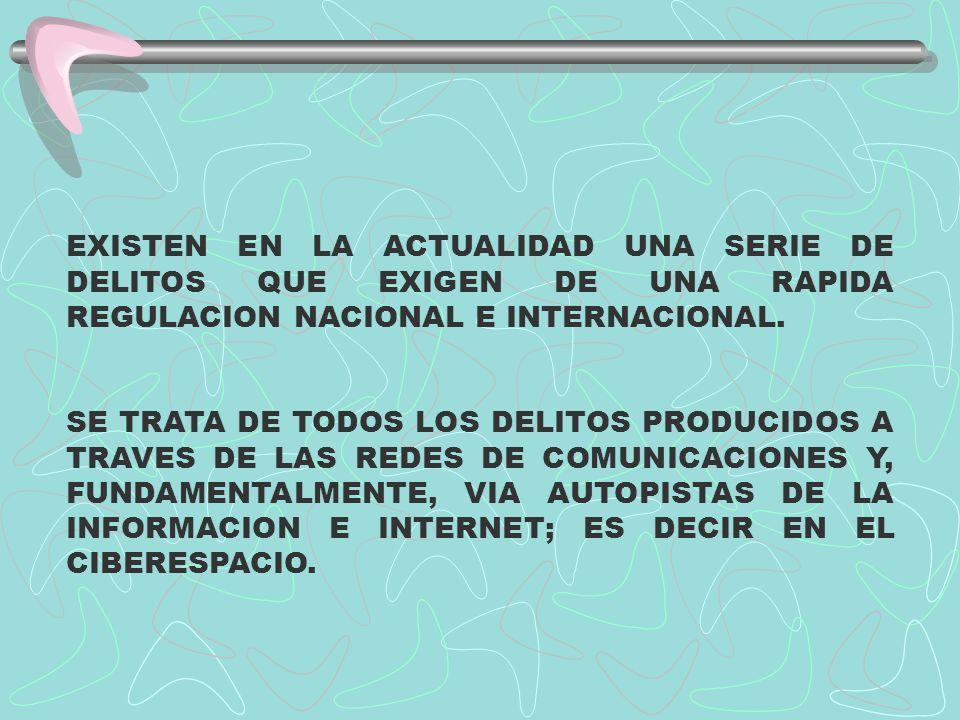 LAS IMPLICACIONES LEGALES EN EL CIBERESPACIO SON MOTIVO DE ATENCION ESPECIAL POR PARTE DE LOS COLEGIOS DE ABOGADOS DE TODO EL MUNDO, Y LOGICAMENTE POR LOS CORRESPONDIENTES PARLAMENTOS NACIONALES Y TRANSNACIONALES QUE ESTAN COMENZANDO A LEGISLAR AL RESPECTO.